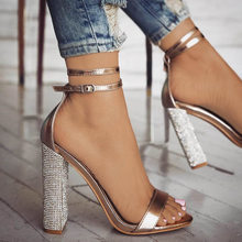 Sexy High Heels Women Pumps Gold Rhinestone Heels Ladies Shoes Classic Pumps Plus Size 35-43 Shoes Women Buckle Strap Sandals(China)