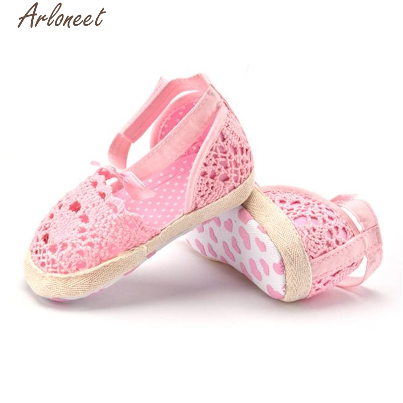 ARLONEET Fashion Baby Shoes Prewalker Girl Infant Toddler Princess Walkers Pierced Bowknot Lace Shoes Oct19