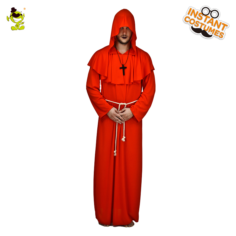 Men's Friar Tuck Halloween Costume Cosplay Carnival Party  Red Long Robe Career Outfit Halloween Party Role Play Costumes