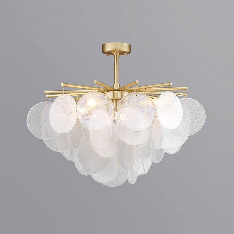 Moderne neige verre Led lustre éclairage or métal salle à manger pendentif Led lustres salon suspendus luminaires