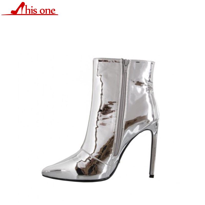 THIS ONE Womens Winter Boots High Heels Ankle Boots Shoes Fashion Shiny Zip Pointed Toe Party Gold Silver Shoes Plus Size 33-48THIS ONE Womens Winter Boots High Heels Ankle Boots Shoes Fashion Shiny Zip Pointed Toe Party Gold Silver Shoes Plus Size 33-48
