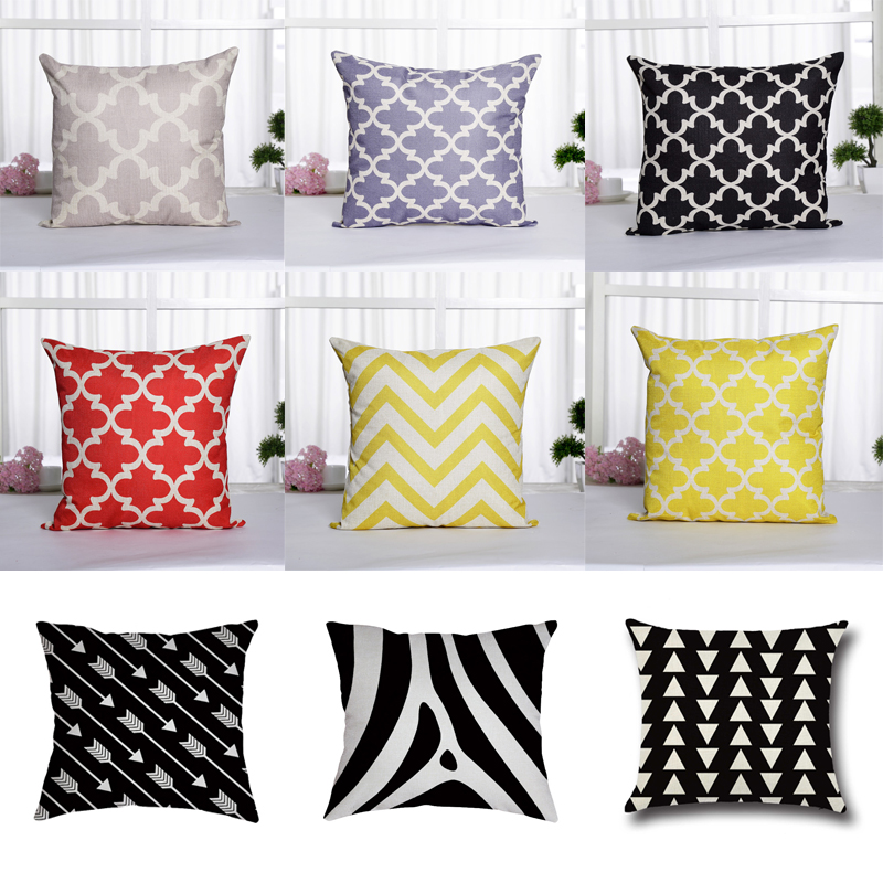Cotton Linen Pillow Case Cover Geometric Pattern Home Decorative Pillowcase for Living Room Hot Sale