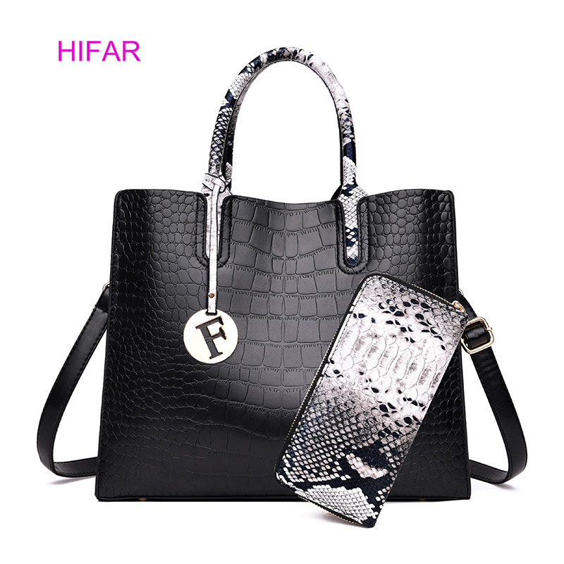HIFAR Luxury High Quality PU Leather Women Handbag 2 Sets Ladies Composite Bags Tote Messenger Wallet Shoulder Bag