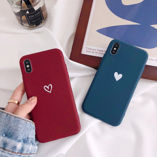 new product e7bca 7ccee Matte phone cases for iphone X XR XS XS Max love heart Soft TPU case For  iphone 6 6s 7 8 plus back cover