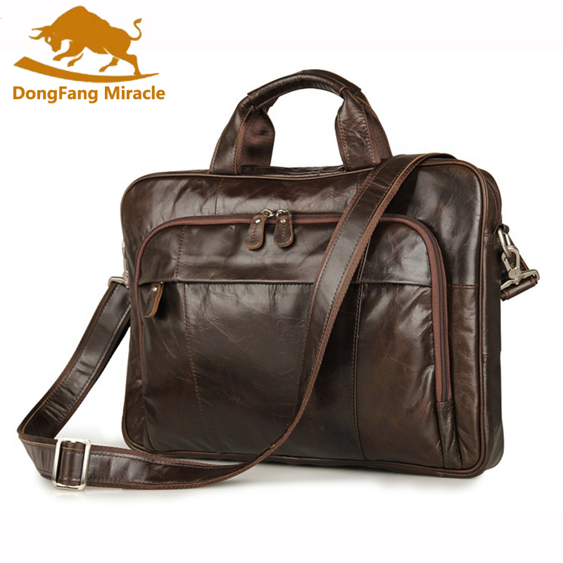 DongFangMiracle New Products 100% Genuine Leather Handbags Vintage style Mens Coffee Briefcase Laptop Bag Mens Business BagsDongFangMiracle New Products 100% Genuine Leather Handbags Vintage style Mens Coffee Briefcase Laptop Bag Mens Business Bags