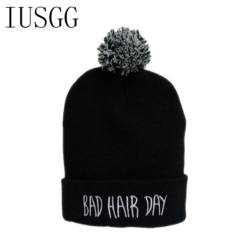 Christmas New Year Winter Beanies Hats for Men Warm Knit Ski Cap With Pompom Ball Embroid Letter Bad Hair Day Knitted Skullies skullies beanies winter woman fashion knitting hats with pompom beanies girls warm letter b cap
