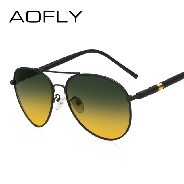 AOFLY Polarized Sunglasses Men's Night Vision Glasses Driving Anti-Glare Metal Frame Brand Design Goggles AF8047 1
