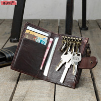 BJYL Handmade retro mini Men purse wallet vegetable tanned leather small card leather ultra thin personality key card wallets