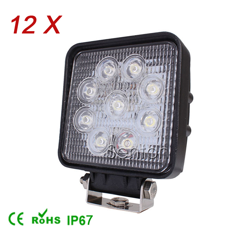 12Pcs 4 Inch 27W High-Power 9X 3W Square LED Work Light 12V Flood For 4x4 Offroad ATV Truck Tractor Motorcycle Driving Fog Lamps 90w led driver dc40v 2 7a high power led driver for flood light street light ip65 constant current drive power supply