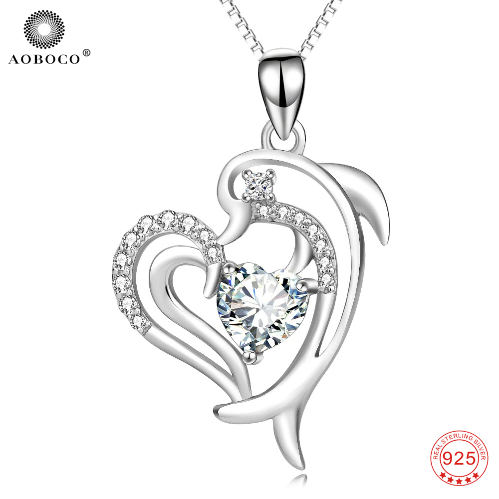 AOBOCO 925 Sterling Silver Dolphin AAA Cubic Zirconia Crystal Pendant Necklace Fine Jewelry Women Fashion Gift For Her PYX0112