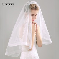 3 CM Elastic Tulle Edge Short Bridal Veils Simple Ivory Tulle Wedding Veil With Comb 85 CM Brides Accessoire Mariage WV008