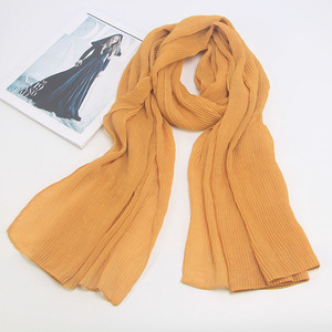 Image 4 - Miya Mona Plain Cotton Womens Hijabs Female Fashion Warm Wave Wrinkled Muslim Wrap Hijab Simple Solid Plain Scarf Headscarf
