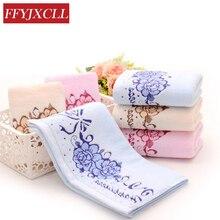 4pcs/Lot 34*76cm Washcloth 110g 100%Cotton Face Towel Bathroom 3 Color Yellow Pink Blue Peony Floral Bath Towels for Adults floral pattern face bath towel 100