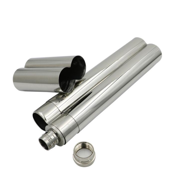 Free Shipping 50pcs stainless steel cigar holder + 2oz flask set SN477 steel casing pipe