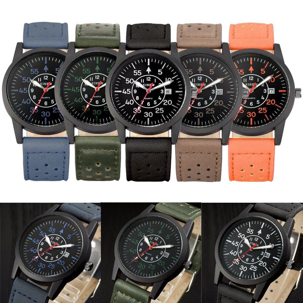 Браслет часы моды Винтаж классический Для Мужчинs Водонепроницаемый Дата Кожаный ремешок Спорт Кварцевые часы армии Reloj Mujer