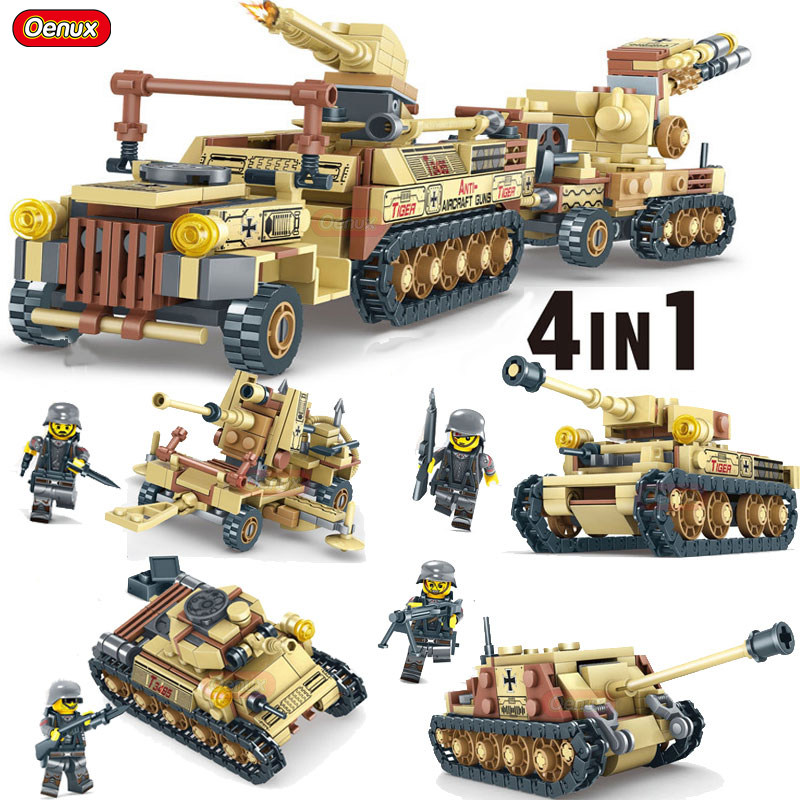 Oenux 4IN1 World War 2 Tank Model 88mm Flak 36 Jagdpanzer Tank Russian T-34 Medium Tank WW2 Military Building Block Brick Toy oenux world war 2 united state army air forces fighter p 47 thunderbolt aircraft vehicle model military building block brick toy