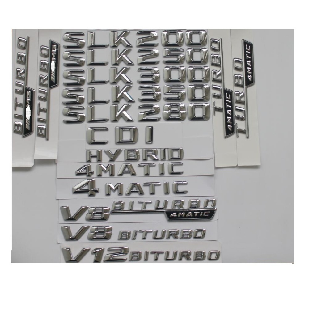 Chrome Stamm Buchstaben Abzeichen Emblem Embleme für Mercedes Benz SLK32 SLK55 AMG SLK200 SLK230 SLK250 SLK300 SLK320 SLK350 4 MATIC CDI