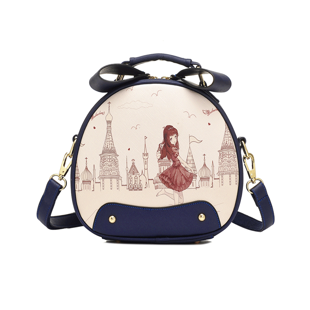 Japan And Korean Style Sweet Kawaii Girl Messenger Bag New Fresh Mini Circle Bag Cartoon Printing Joker Shoulder Bag Handbag sa212 saddle bag motorcycle side bag helmet bag free shippingkorea japan e ems