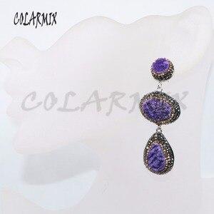 Image 5 - Pendientes de piedra drusa dobles, 5 pares, mezcla de colores, joyería con drusa, regalo, joyería 4887