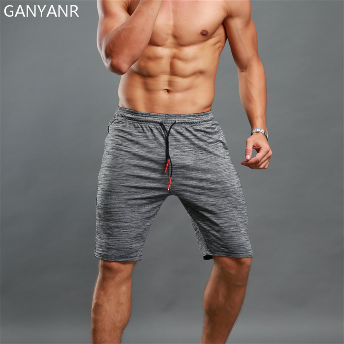 GANYANR Brand Running Shorts Men Basketball Gym Sport Short Pants Athletic Tennis Volleyball Crossfit Training Soccer Football