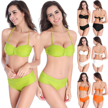 SWIMMART Original Design Scrunch Top Fully lined 2PCS Women Swimwear Removable neck Halter Push Up 2016 Sex girls photos Bikini цена
