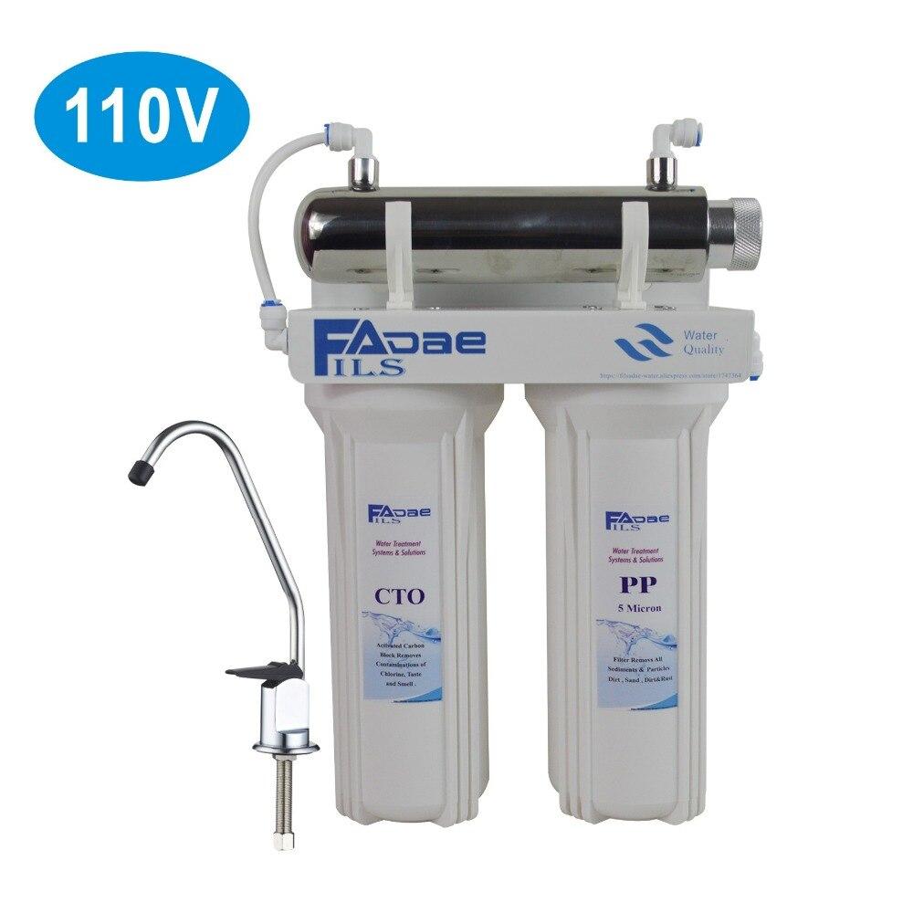 Système de Filtration d'eau potable sous évier en 3 étapes avec stérilisateur Ultraviolet 6 W pour cuisine, puissance 110 V, prise US
