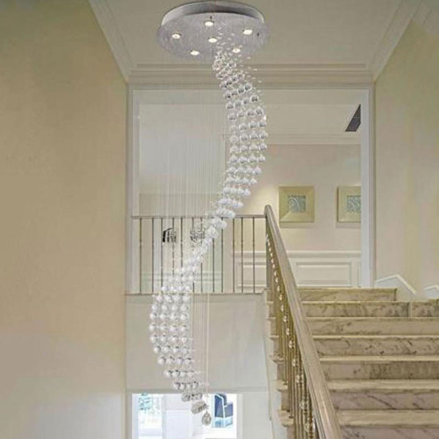 Lighting Basement Washroom Stairs: 50*200cm Spiral Rain Drop Chandelier Modern Crystal