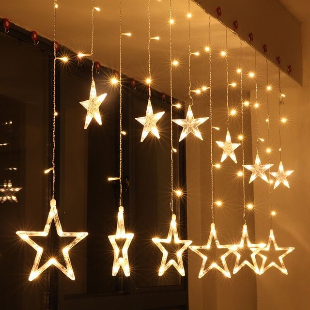 2.5M Romantic Fairy Star Led Curtain String Light Warm white dry battery Xmas Garland Light For Wedding Party Holiday 12 leds romantic fairy star led curtain string light warm white eu us 220v xmas garland light for wedding party holiday deco
