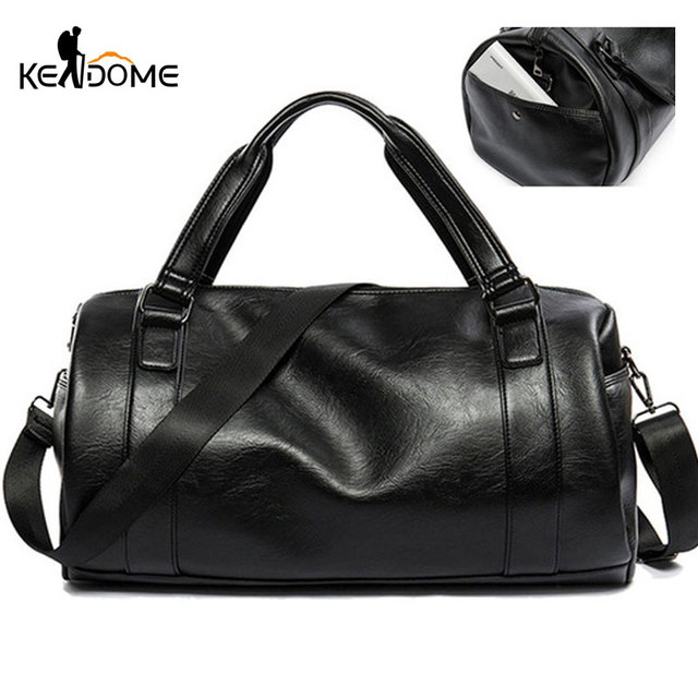fe2d76d82949 Top Classic Soft Leather Sports Gym Male Bag Cylindrical Handbags for Men  Over the Shoulder Travel