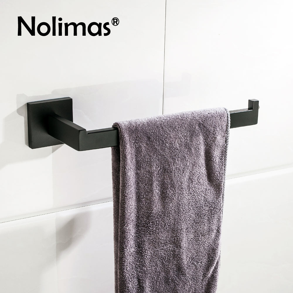 SUS 304 Stainless Steel Single Towel Bar black Towel Rack Holder Black Matte Wall Mounted Towel Ring Bathroom Accessories