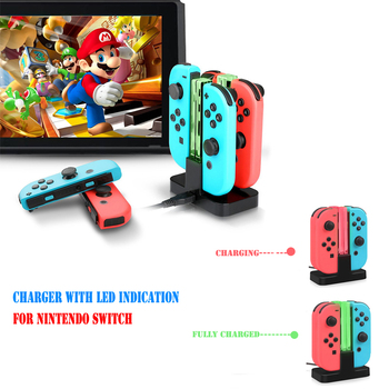4 In 1 LED Indication Light Charging Dock Station Cradle Charger Stand For Nintend Switch Joy-Con NS Controllers Gamepad