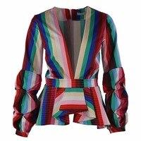 Ladies Puff Long Sleeve Striped Elegant Shirts Woman Deep V neck Blouses Tops Women Tunic Shirt Plus Size Camiseta Mujer 4xl 5xl