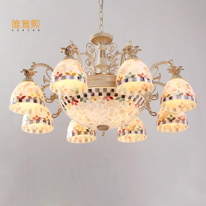 Gold Kronleuchter antike Lampe Wandleuchte Tiffany Light Conch Glas - Innenbeleuchtung - Foto 3