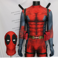 Linglong High Quality Comic Deadpool Costume With Embossed Eyes New Deadpool Cosplay Costume Deadpol Spandex Suit