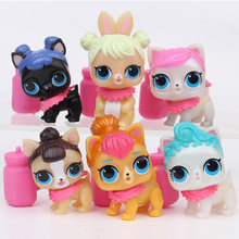6pcs bebek Cartoon Pet Dog poupee PVC Action Figure Toy serie 3 lol Dolls Toys cat Kids Educational Girl Birthday Gift Christmas(China)