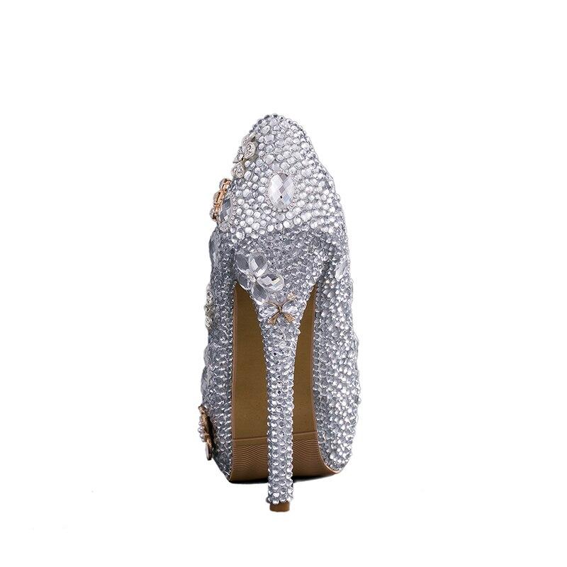 Talons Silver De Mariage 14 Argent Partie Grande Soirée Bal Fille Strass Hauts silver Chaussures Heels Graudation Danse 14cm Taille Cm Main 8cm 11cm Heels T8qt8