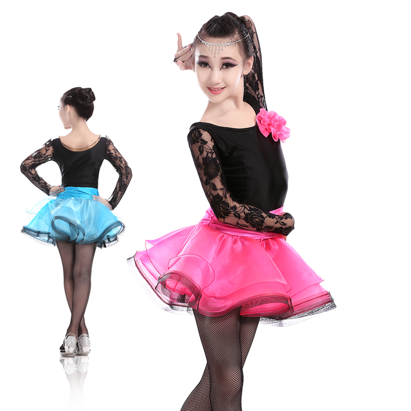 Girls Kids Salsa Tango Latin Dance Dresses Children Fancy Dress Sexy Lace Long Sleeve Stage Rumba Cha-cha Modern Dance Costume