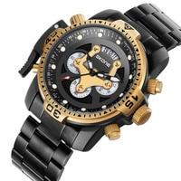 Skone Männer Top Luxus Marke Uhr Einzigartige Casual Stahl Band Business Armbanduhr Mann Quarz Chronograph Armee Wasserdichte Uhren Neue-in Quarz-Uhren aus Uhren bei
