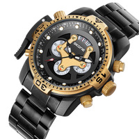 Skone mężczyźni Top luksusowej marki zegarek unikalny dorywczo pasek stalowy zegarek biznes mężczyzna zegarek kwarcowy Chronograph armia zegarki wodoodporne nowy w Zegarki kwarcowe od Zegarki na