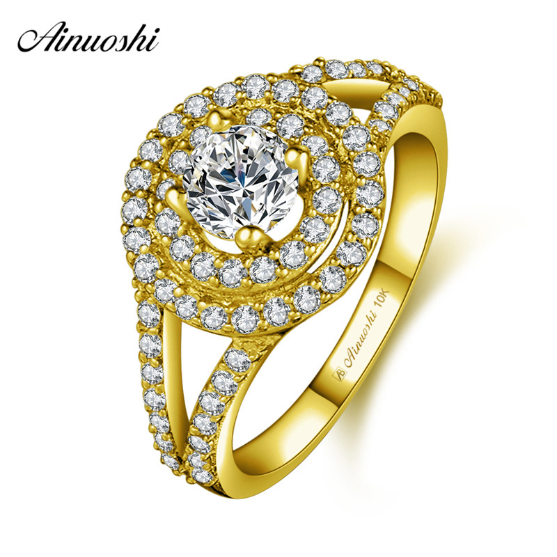 AINUOSHI 10k Solid Yellow Gold Woman Wedding Double Halo Ring 0.5ct Round Cut Rows Shinning CZ Bridal Band Engagement Jewelry