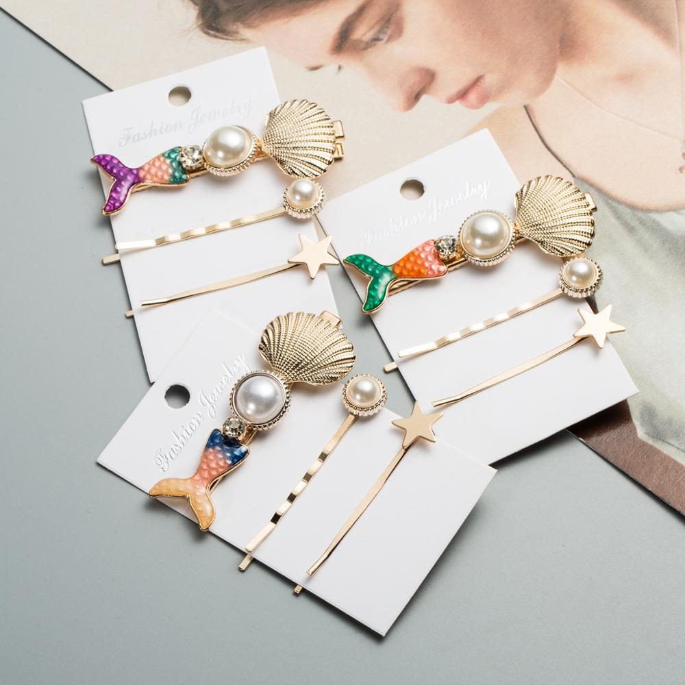 Vintage Barrettes Hairpins-Set Slide-Headwear Pearl Star Women for Simulated Conch