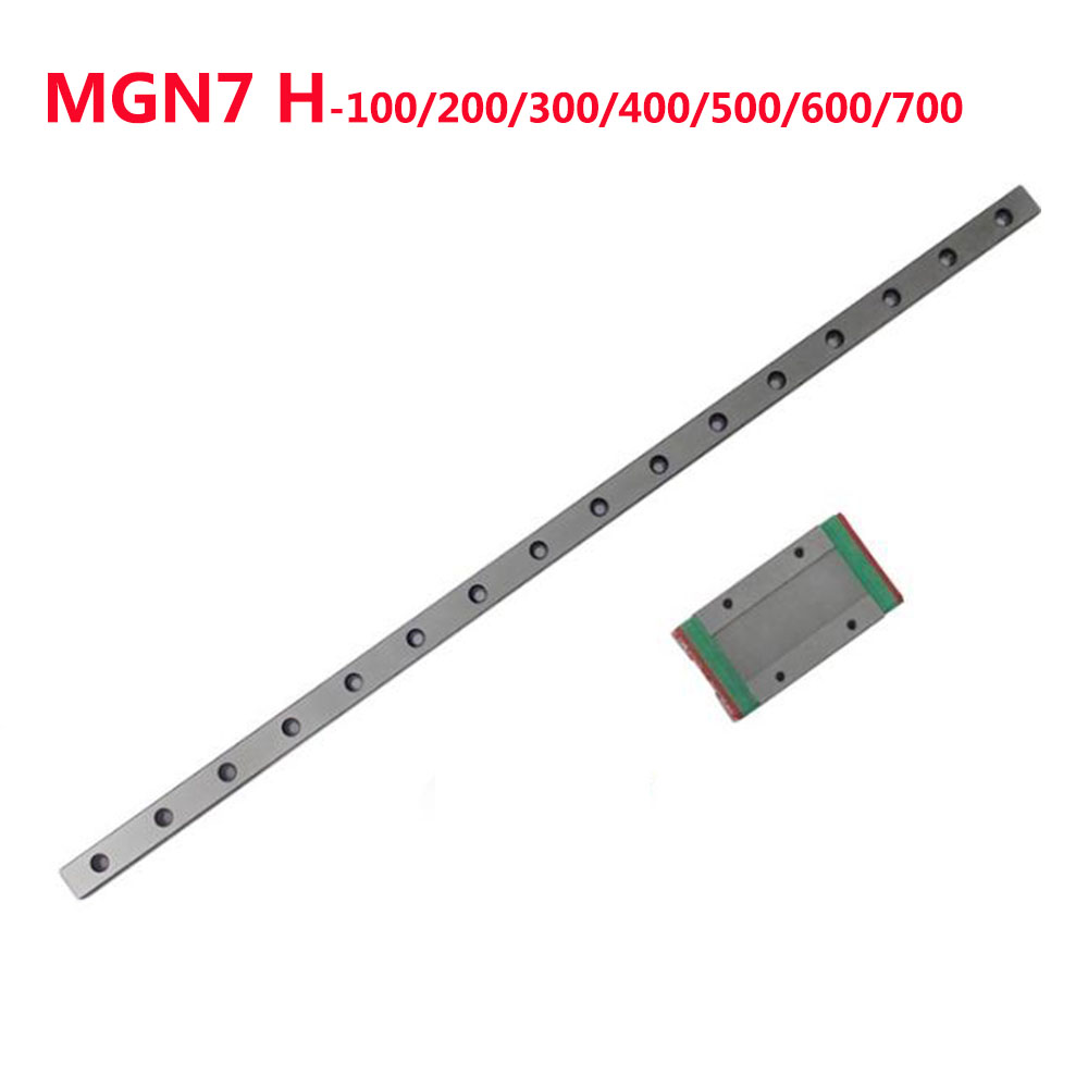 1PC MGN7 Linear Rail Guide Width 7mm Length 100 200 300 400 500 600 700 mm with 1PC Linear Block MGN7H1PC MGN7 Linear Rail Guide Width 7mm Length 100 200 300 400 500 600 700 mm with 1PC Linear Block MGN7H