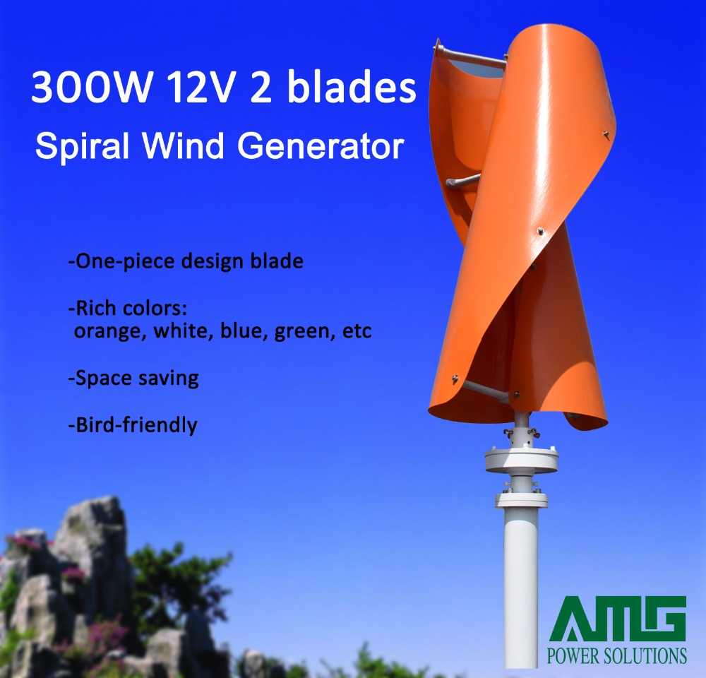 все цены на 300W 24V Vertical Axis Spiral Wind Turbine Generator / VAWT for garden/rooftop/park/boat/plaza/street light decoration онлайн