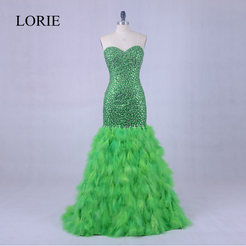 Luxury   Evening     Dress   Gown 2018 LORIE Crystal Ostrich Feather Mermaid Prom   Dresses   Long Formal   Dress   For Women Wedding Party