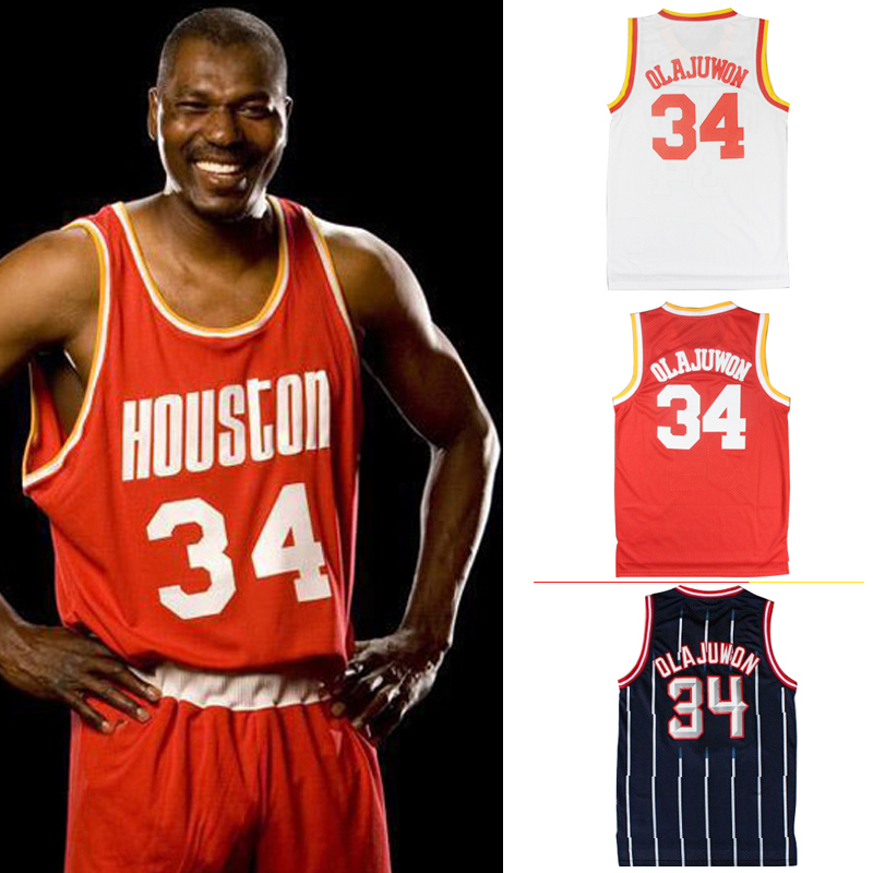 539c73c24 ... Navy Throwback Jersey Swingman Hardwood Classics Free Shipping Houston  34 Retro Hakeem Olajuwon Jersey Retro Basketball Jerseys Red White .
