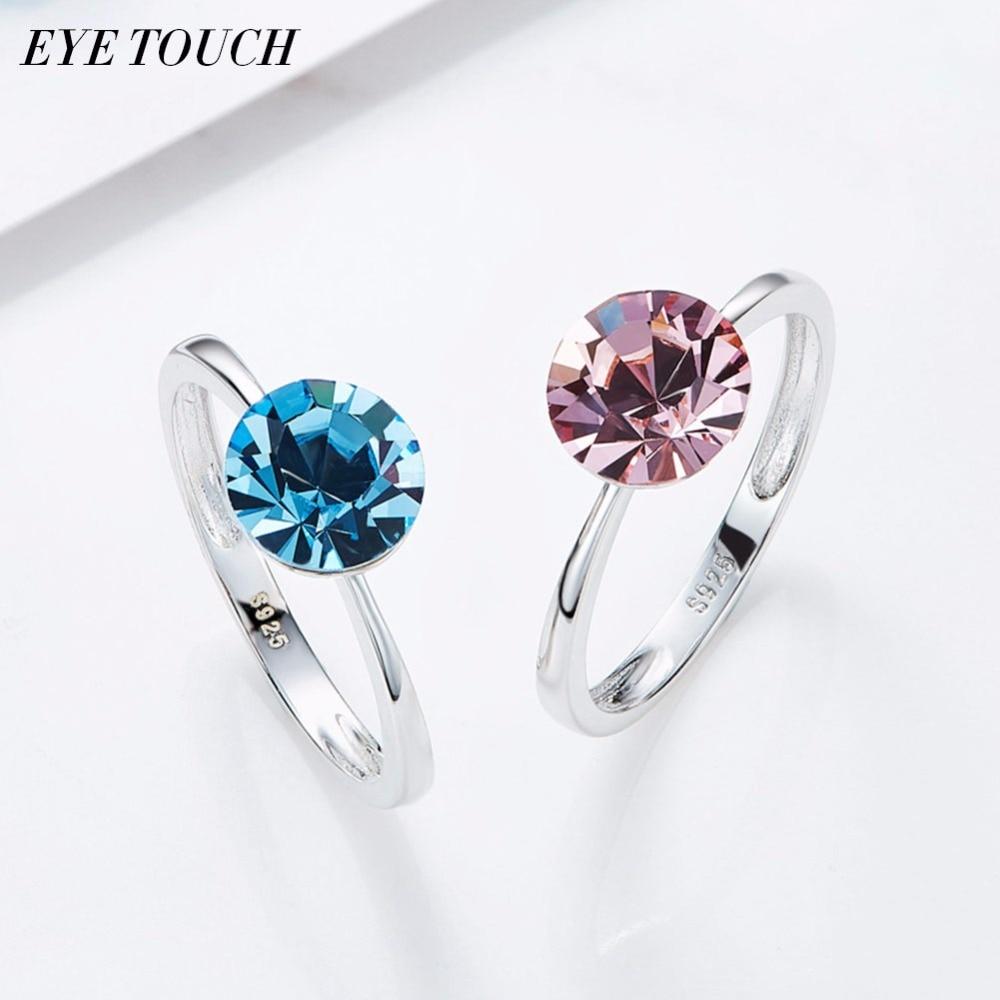 EYE TOUCH Crystals From Swarovski Women Ring Fashion Blue Pink Jewelry Beautiful Elegant Trendy Bijoux Sexy Lady Female Gift New