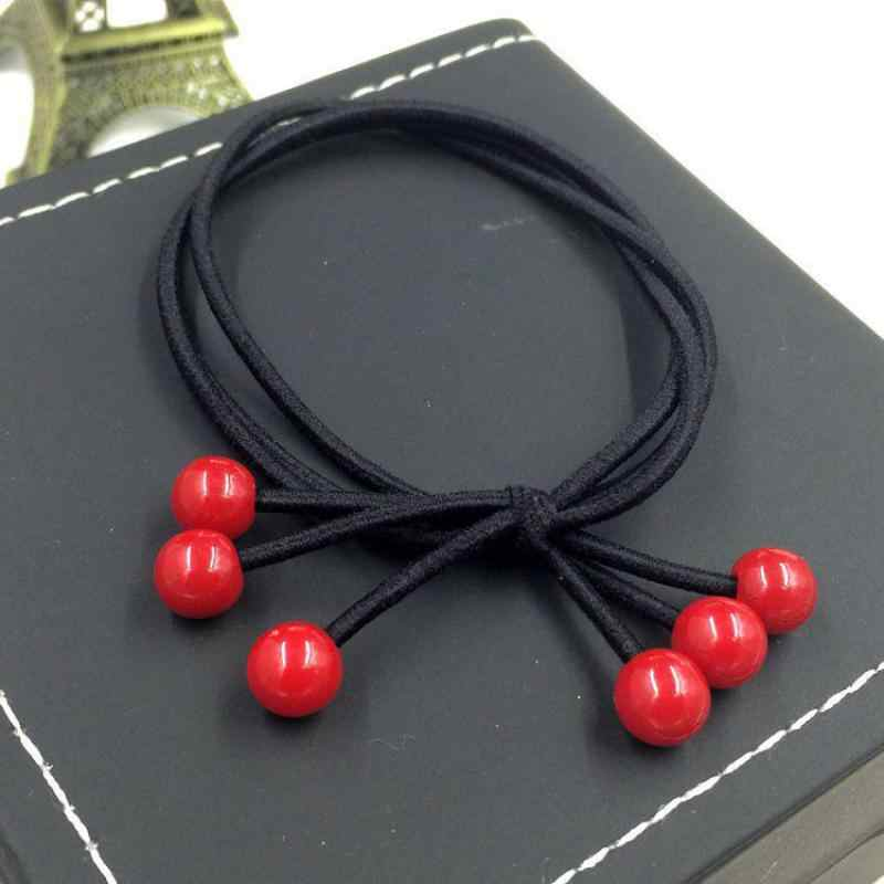 อุปกรณ์เสริมผมใหม่ความยืดหยุ่นสูง 6 สีลูกปัดสีแดงโบว์โบว์เชือกแหวนผมเด็กผู้ใหญ่ Universal Tie ผมวงขายส่ง
