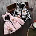 Moda Da Menina Do Bebê Roupas de Outono Inverno de Lã Grossa Casaco de Inverno Do Bebê para Meninos Dos Desenhos Animados Camouflage Jaqueta de Algodão Acolchoado Roupas