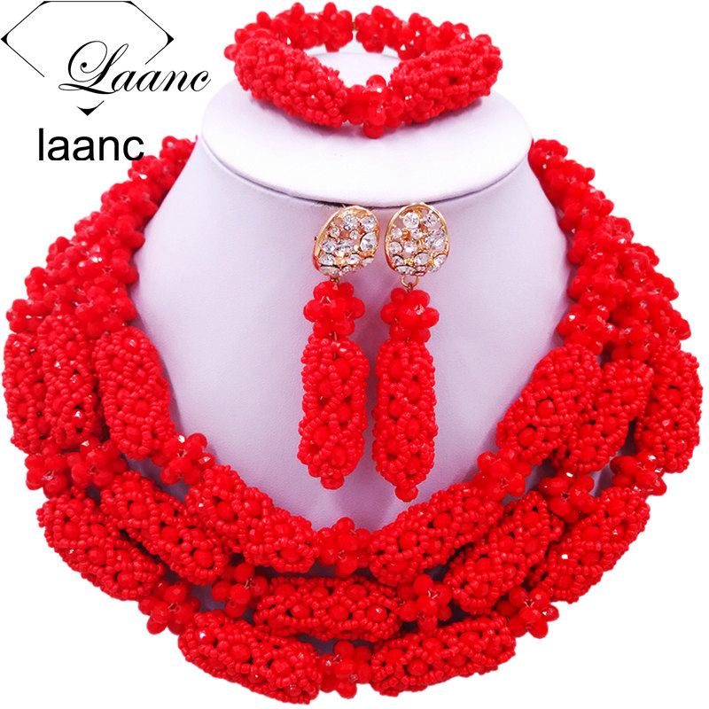Laanc Red African Jewelry Set Nigerian Beads Wedding Party Jewellery Sets AL658Laanc Red African Jewelry Set Nigerian Beads Wedding Party Jewellery Sets AL658
