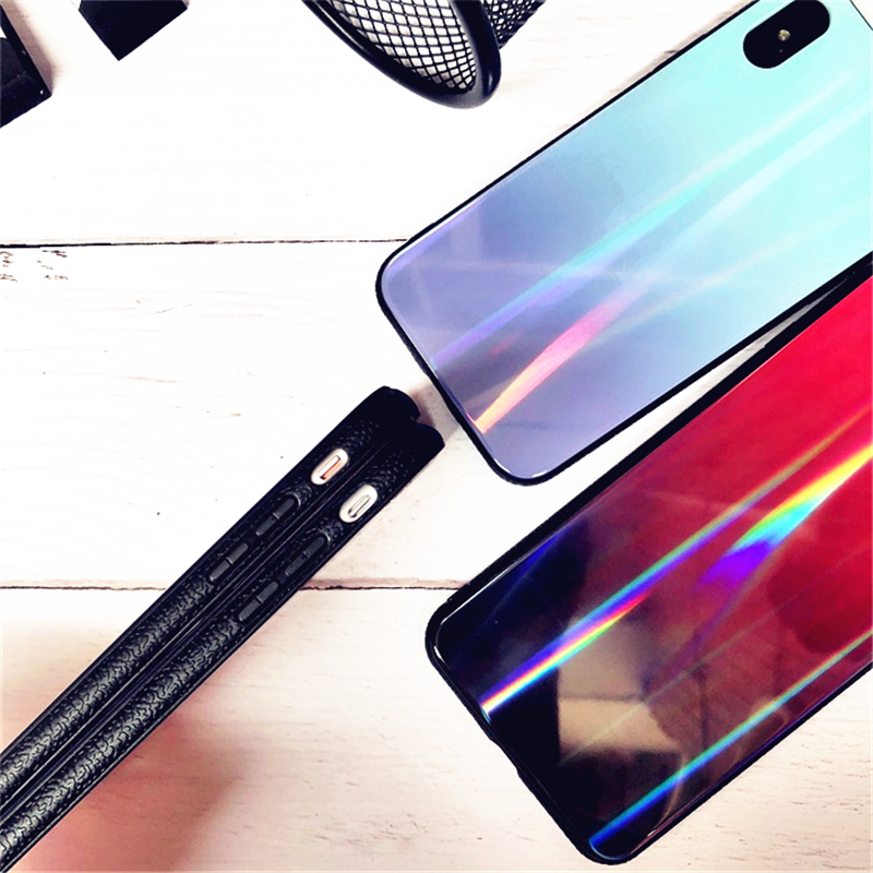 BONVAN For iPhone X 7 8 Plus Tempered Glass Back Case Gradient Color Laser Aurora Silicone Bumper For iPhone 7 6S 8 6 Plus Cover27